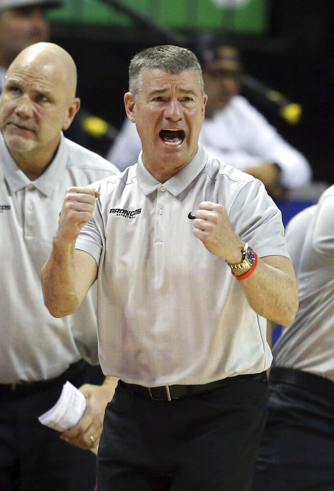 Boise State coach Leon Rice reacts during the second half of the team's NCAA college basketball game against San Diego State in the Mountain West Conference men's tournament Friday, March 6, 2020, in Las Vegas. (AP Photo/Isaac Brekken)