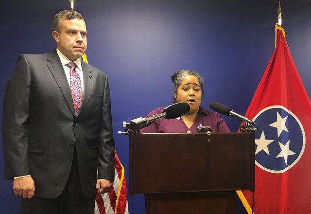 Sen. Raumesh Akbari, from Memphis, with Tennessee Democrat's Rep. Jason Powell, from Nashville, speaks during a news conference in Nashville, Tenn., Tuesday, Feb. 18, 2020. The two lawmakers want to move Tennessee's presidential primary to be the first in the nation. (AP Photo/Kimberlee Kruesi)