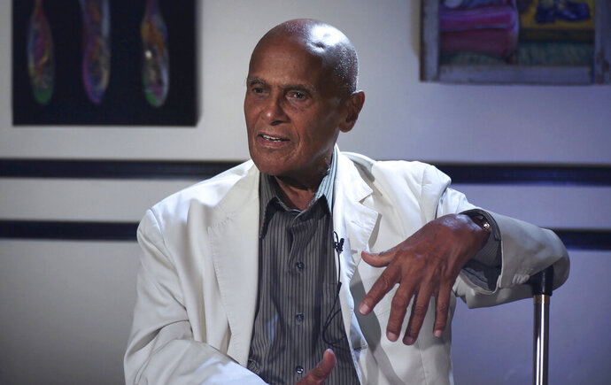 This image released by Peacock shows Harry Belafonte in a scene from the documentary