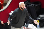 Oregon State coach Wayne Tinkle shouts to the team during the second half of the team's NCAA college basketball game against Utah on Wednesday, March 3, 2021, in Salt Lake City. (AP Photo/Rick Bowmer)