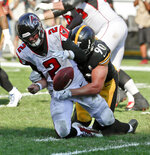 FILE - In this Oct. 7, 2018, file photo, Pittsburgh Steelers linebacker T.J. Watt (90) sacks Atlanta Falcons quarterback Matt Ryan (2) and forces a fumble that was later recovered for a touchdown in the fourth quarter of an NFL football game, in Pittsburgh. The Falcons, who play against the Tampa Bay Buccaneers on Sunday, are off to their worst start since 2013. (AP Photo/Gene J. Puskar, FIle)
