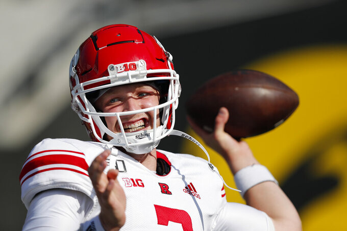 Rutgers quarterback McLane Carter warms up before the first half of an NCAA college football game against Iowa, Saturday, Sept. 7, 2019, in Iowa City. (AP Photo/Matthew Putney)