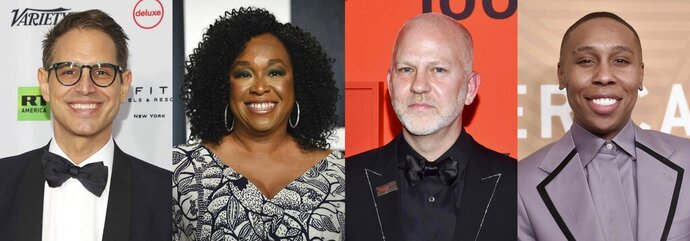 This combination of photos shows show writers and creators, from left, Greg Berlanti, Shonda Rhimes, Ryan Murphy and Lena Waithe who were named in a study about LGBTQ and gender inclusiveness on television. GLAAD is asking the industry to reach 20% representation of LGBTQ regularly seen characters on all three platforms by 2025, and to ensure that half of LGBTQ characters on every TV platform are people of color within the next two years. (AP Photo)