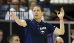 Nevada head coach Eric Musselman instructs his team during the second half of an NCAA college basketball game against Boise State in the Mountain West Conference men's tournament Thursday, March 14, 2019, in Las Vegas. (AP Photo/Isaac Brekken)