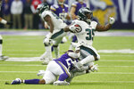 Philadelphia Eagles' Orlando Scandrick (35) is tackled by Minnesota Vikings' Mike Boone, left, during the second half of an NFL football game, Sunday, Oct. 13, 2019, in Minneapolis. (AP Photo/Jim Mone)