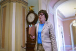 Sen. Susan Collins, R-Maine, walks to the chamber for final votes before the Memorial Day recess, at the Capitol in Washington, Friday, May 28, 2021. Senate Republicans successfully blocked the creation of a commission to study the Jan. 6 insurrection by rioters loyal to former President Donald Trump. (AP Photo/J. Scott Applewhite)