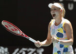 Croatia's Donna Vekic celebrates after defeating Russia's Maria Sharapova in their first round singles match at the Australian Open tennis championship in Melbourne, Australia, Tuesday, Jan. 21, 2020. (AP Photo/Lee Jin-man)