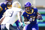East Carolina running back Rahjai Harris (47) runs against Navy during an NCAA college football game on Saturday, Oct. 17, 2020, in Greenville, N.C. (AP Photo/Jacob Kupferman)