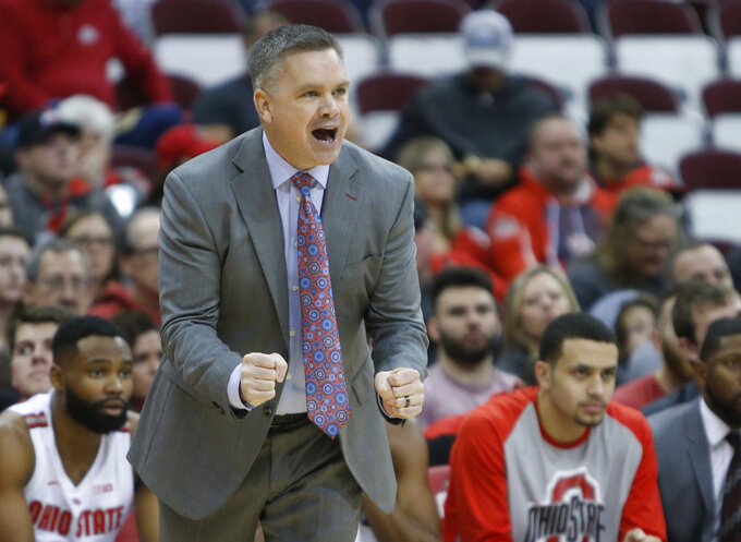Ohio State head coach Chris Holtmann shouts to his team against High Point during the first half of an NCAA college basketball game Saturday, Dec. 29, 2018, in Columbus, Ohio. Ohio State beat High Point 82-64. (AP Photo/Jay LaPrete)