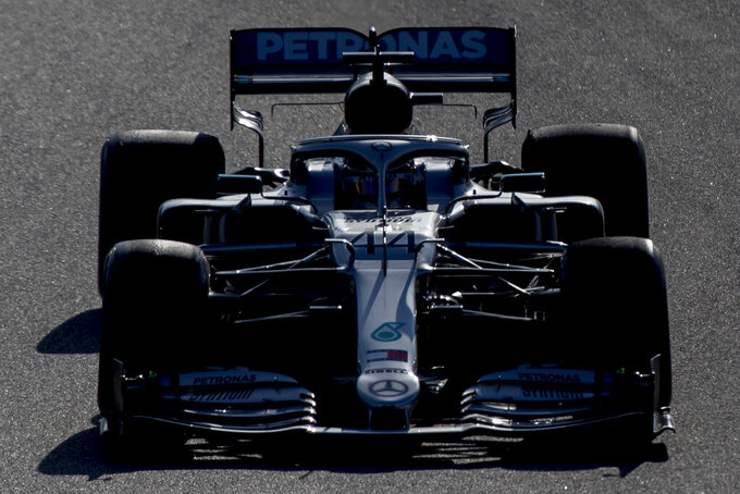 Lewis Hamilton drives his Mercedes during the Formula One pre-season testing session at the Barcelona Catalunya racetrack in Montmelo, outside Barcelona, Spain, Wednesday, Feb. 26, 2020. (AP Photo/Joan Monfort)