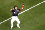 Washington Nationals second baseman Brian Dozier bobbles a foul pop fly that was hit by Miami Marlins' Harold Ramirez in the seventh inning of a baseball game, Friday, May 24, 2019, in Washington. (AP Photo/Patrick Semansky)