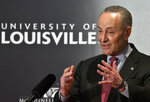 Senate Minority Leader Charles Schumer, D-N.Y., answers a question about the budget compromise during the McConnell Center's Distinguished Speaker Series Monday, Feb. 12, 2018, on the University of Louisville campus in Louisville, Ky. (AP Photo/Timothy D. Easley)