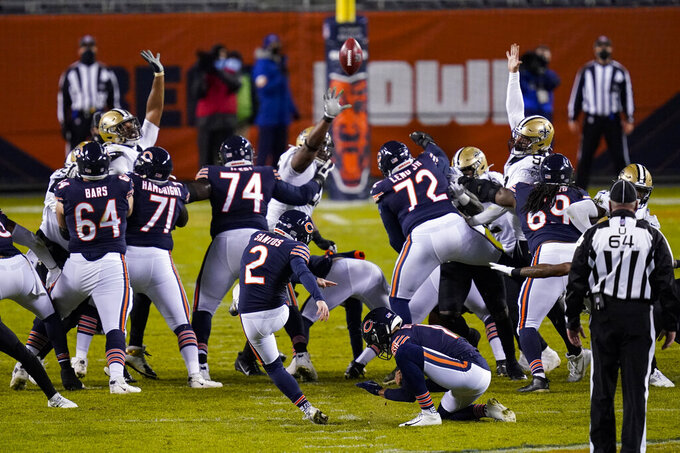 Chicago Bears kicker Cairo Santos (2) kicks a field goal to tie the game with the New Orleans Saints in the closing seconds of the second half of an NFL football game in Chicago, Sunday, Nov. 1, 2020. (AP Photo/Charles Rex Arbogast)