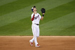 Washington Nationals shortstop Trea Turner reacts after a baseball game against the New York Mets, Sunday, Sept. 27, 2020, in Washington. The Nationals won 15-5. (AP Photo/Nick Wass)