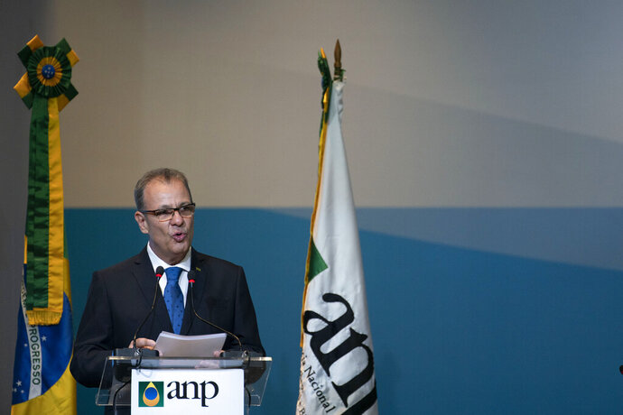 Bento Albuquerque, minister of mines and energy, speaks during an oil auction in Rio de Janeiro, Brazil, Wednesday, Nov. 6, 2019. Brazil is holding one of the world's biggest-ever oil auctions, with oil majors bidding on fields currently operated by state-run Petrobras. (AP Photo/Leo Correa)