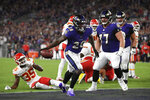 Baltimore Ravens running back Latavius Murray (28) celebrates after scoring a touchdown in the first half of an NFL football gameagainst the Kansas City Chiefs, Sunday, Sept. 19, 2021, in Baltimore. (AP Photo/Julio Cortez)
