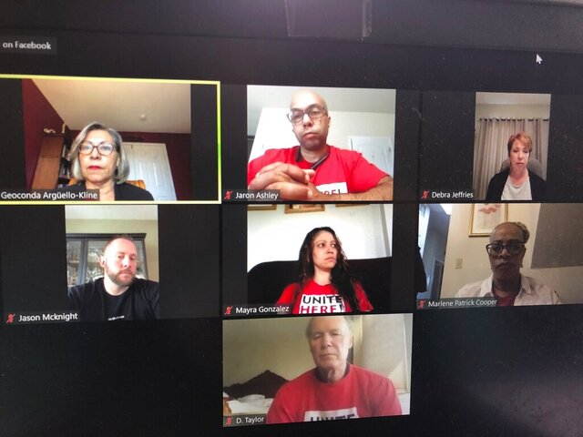 This April 9, 2020 photo from Atlantic City NJ shows casino workers and union officials from Las Vegas, Atlantic City, New Orleans and Mississippi participating in a video conference at which they called on the casino industry to pay them through the duration of the coronavirus shutdown. Many casino companies gave workers two weeks pay upon closing but workers say that's not nearly enough. (AP Photo/Wayne Parry)