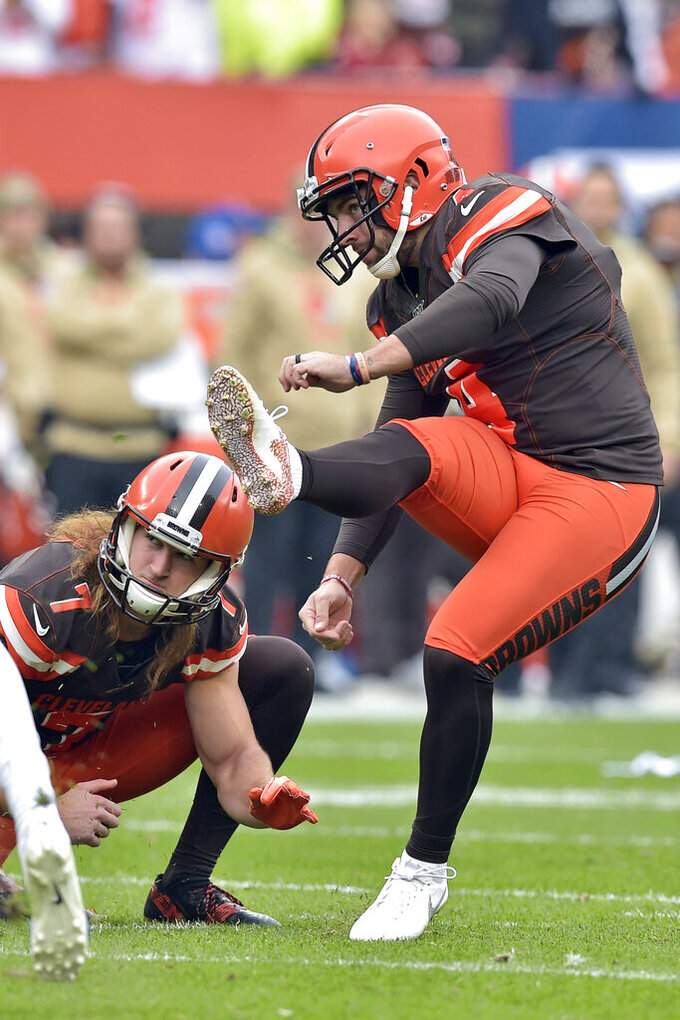 Cleveland Browns kicker Austin Seibert, right, watches his 27-yard field goal during the first half of an NFL football game against the Buffalo Bills, Sunday, Nov. 10, 2019, in Cleveland. (AP Photo/David Richard)