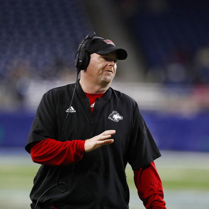 FILE - In this Nov. 30, 2018, file photo, Northern Illinois head coach Rod Carey reacts during the first half of the Mid-American Conference championship NCAA college football game against Buffalo, in Detroit. A person familiar with the move tells The Associated Press that Temple has hired Northern Illinois coach Rod Carey as its next football coach. The person spoke Friday, Jan. 11, 2019, on condition of anonymity because Temple had not made an official announcement. (AP Photo/Carlos Osorio, File)