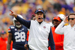 Auburn head coach Gus Malzahn calls out from the sideline in the first half of an NCAA college football game against LSU in Baton Rouge, La., Saturday, Oct. 26, 2019. (AP Photo/Gerald Herbert)