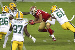 San Francisco 49ers tight end Jordan Reed center, runs against the Green Bay Packers during the first half of an NFL football game in Santa Clara, Calif., Thursday, Nov. 5, 2020. (AP Photo/Jed Jacobsohn)