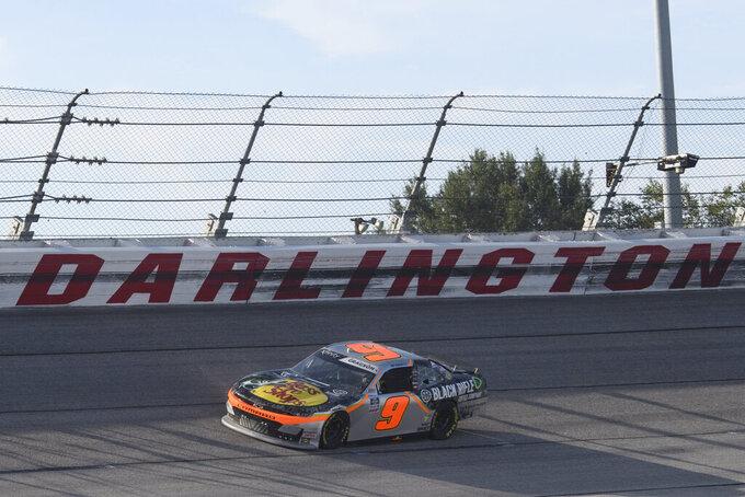 Noah Gragson races in a NASCAR Xfinity Series auto race Saturday, Sept. 4, 2021, in Darlington, S.C. (AP Photo/John Amis)