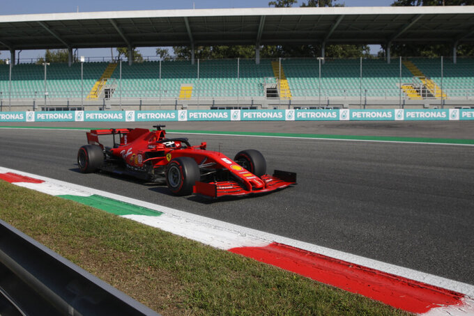 Ferrari driver Sebastian Vettel of Germany steers his car during the second practice session for Italy's Formula One Grand Prix, at the Monza racetrack in Monza, Italy, Friday, Sept. 4 , 2020. (Luca Bruno/Pool via AP)