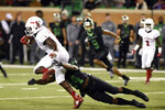 North Texas defensive back Taylor Robinson (24) takes down Florida Atlantic running back Devin Singletary (5) during the first half of an NCAA college football game, Thursday, Nov. 15, 2018 in Denton, Texas. (Jake King/The Denton Record-Chronicle via AP)