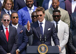 Tampa Bay Buccaneers quarterback Tom Brady speaks on the South Lawn of the White House, in Washington, Tuesday, July 20, 2021, during a ceremony to honor the Super Bowl Champion Tampa Bay Buccaneers for their Super Bowl LV victory. (AP Photo/Andrew Harnik)
