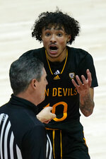 Arizona State guard Jaelen House (10) argues with an official after a call in the first half during an NCAA college basketball game against Utah Saturday, March 6, 2021, in Salt Lake City. (AP Photo/Rick Bowmer)