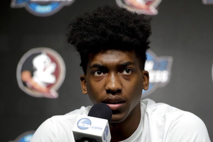 Florida State guard Terance Mann speaks during an NCAA men's college basketball news conference in Anaheim, Calif. Wednesday, March 27, 2019. Florida State plays Gonzaga in a west regional tournament semifinal on Thursday. (AP Photo/Chris Carlson)