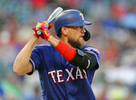 Texas Rangers designated hitter Hunter Pence (24) bats in the third inning of a baseball game against the Arizona Diamondbacks Tuesday, July 16, 2019 in Arlington, Texas. This is Pence's first game back after being on the injured list. (AP Photo/Richard W. Rodriguez)