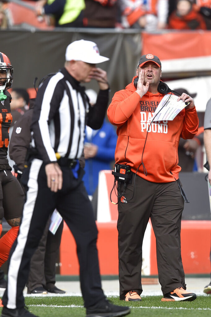 Cleveland Browns head coach Freddie Kitchens yells at an official during the first half of an NFL football game against the Cincinnati Bengals, Sunday, Dec. 8, 2019, in Cleveland. (AP Photo/David Richard)