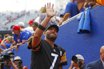 Pittsburgh Steelers quarterback Ben Roethlisberger waves to fans as he leaves the field following a 23-16 win over the Buffalo Bills in an NFL football game in Orchard Park, N.Y., Sunday, Sept. 12, 2021. (AP Photo/Joshua Bessex)