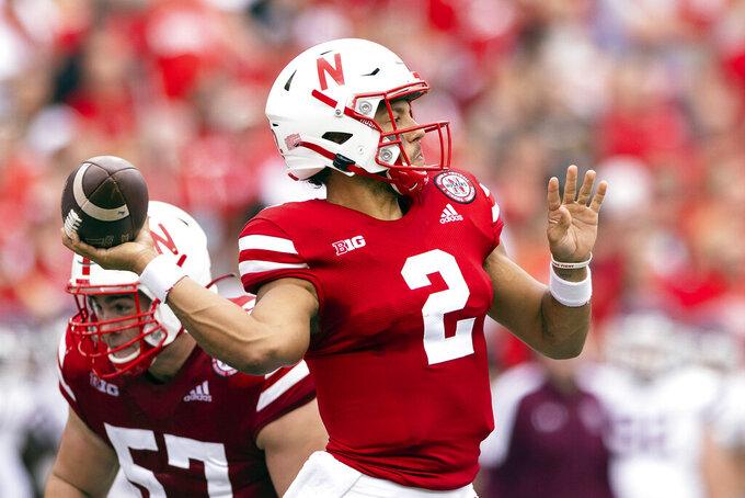 Nebraska quarterback Adrian Martinez (2) throws a pass against Fordham during the first half of an NCAA college football game Saturday, Sept. 4, 2021, at Memorial Stadium in Lincoln, Neb. (AP Photo/Rebecca S. Gratz)