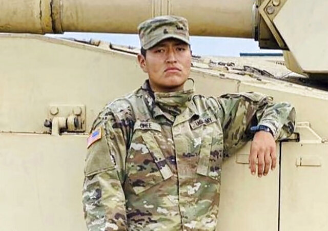 This undated photo provided by the U.S. Army shows Pvt. Corlton L. Chee. The Navajo Nation has joined calls for an accounting of the deaths at Fort Hood after one of its members became the latest soldier from the U.S. Army post to die this year. Chee, a 25-year-old soldier from Pinehill, New Mexico, died Wednesday, Sept. 2, 2020, after he collapsed following a physical fitness training exercise five days earlier, according to officials at the central Texas post. He was the 28th soldier from Fort Hood to die this year, according to data obtained by The Associated Press. (U.S. Army via AP)