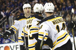 Boston Bruins right wing Chris Wagner (14) celebrates after scoring a goal against the New York Rangers during the first period of an NHL hockey game Sunday, Feb. 16, 2020, at Madison Square Garden in New York. (AP Photo/Mary Altaffer