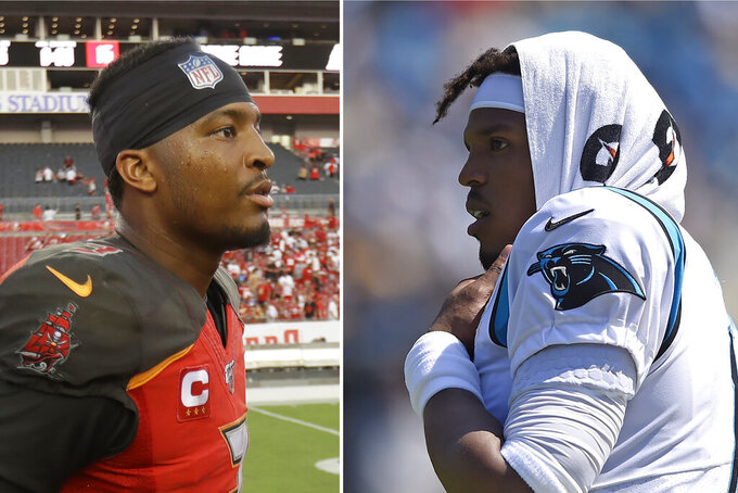FILE - At left, in a Sept. 8, 2019, file photo, Tampa Bay Buccaneers quarterback Jameis Winston walks off the field after the second half an NFL football game against the San Francisco 49ers, in Tampa, Fla. At right, also in a Sept. 8, 2019, file photo,  Carolina Panthers quarterback Cam Newton (1) looks on from the sidelines during the first half of an NFL football game against the Los Angeles Rams in Charlotte, N.C. (AP Photo/File)
