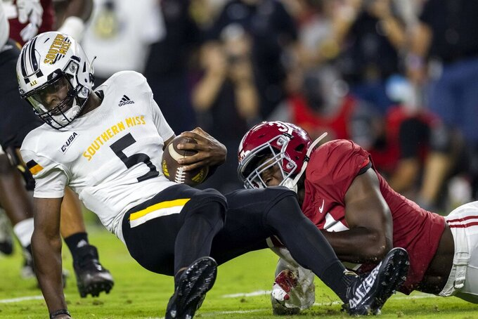 Alabama linebacker Will Anderson Jr. (31) sacks Southern Mississippi quarterback Ty Keyes (5) during the first half of an NCAA college football game, Saturday, Sept. 25, 2021, in Tuscaloosa, Ala. (AP Photo/Vasha Hunt)