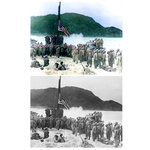 This photo combination shows digital colorization, top, by Anju Niwata and Hidenori Watanave, and original black and white photo that U.S. Army and Coast Guardsmen stand at attention as the American flag is raised over Akashima, Japan on April 2, 1945, the little island, only a few miles from Okinawa. The flag is from a Coast Guard LST.  Niwata and Watanave are adding color to pre-war and wartime photographs using a combination of methods. These include AI technologies, but also traditional methods to fill the gaps in automated coloring. These include going door to door interviewing survivors who track back childhood memories, and communicating on social media to gather information from a wider audience. The team has brought to life more than a thousand black-and-white photographs that illustrate the pre-war lives of ordinary people and chronicles the onset and destruction caused by World War II. (U.S. Coast Guard/Navy Radiophoto/Anju Niwata & Hidenori Watanave via