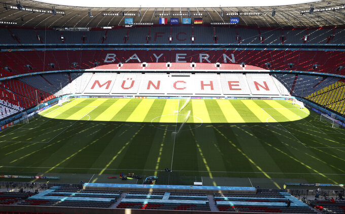 Interior view of the Allianz Arena stadium in Munich, Monday, June 14, 2021 the day before the Euro 2020 soccer championship group F match between France and Germany. (Alexander Hassenstein, Pool via AP)