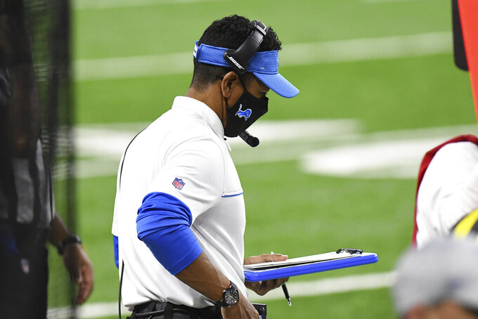 Detroit Lions interim head coach Robert Prince on the sidelines during the second half of an NFL football game against the Tampa Bay Buccaneers, Saturday, Dec. 26, 2020, in Detroit. (AP Photo/Lon Horwedel)