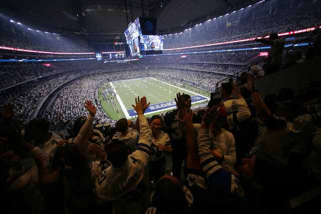 FILE - The Dallas Cowboys play the Seattle Seahawks during the first half of an NFC wild-card NFL football game in Arlington, Texas, Saturday, Jan. 5, 2019. The owner of the Cowboys hopes the 80,000-seat venue with standing room space that pushes capacity past 90,000 will be filled closer to capacity as the pandemic-altered NFL season goes on. (AP Photo/Roger Steinman, File)