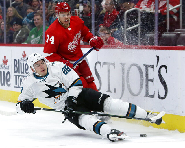 San Jose Sharks right wing Timo Meier (28), of Switzerland, looses his footing against Detroit Red Wings defenseman Madison Bowey (74) during the first period of an NHL hockey game Tuesday, Dec. 31, 2019, in Detroit. (AP Photo/Duane Burleson)