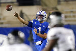 BYU quarterback Zach Wilson throws a pass against Troy during the second half of an NCAA college football game Saturday, Sept. 26, 2020, in Provo, Utah. (AP Photo/Rick Bowmer, Pool)
