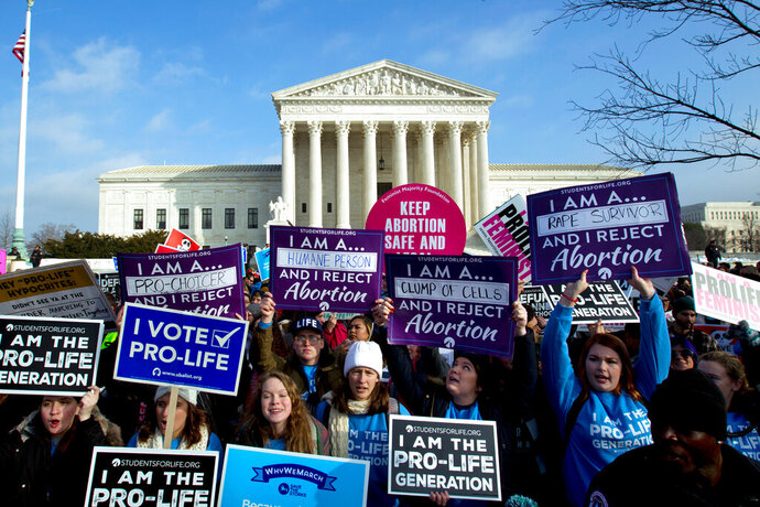 FILE - In this Jan. 18, 2019, file photo, anti-abortion activists protest outside of the U.S. Supreme Court during the March for Life in Washington. Anti-abortion activists will gather in Washington on Friday, Jan. 24, 2020, for the annual march, eager to cheer on a continuing wave of federal and state abortion restrictions. (AP Photo/Jose Luis Magana, File)