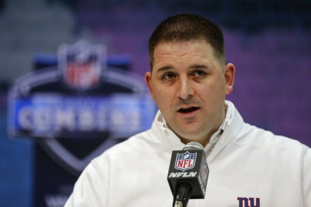 FILE - In this Feb. 25, 2020, file photo, New York Giants head coach Joe Judge speaks during a press conference at the NFL football scouting combine in Indianapolis. (AP Photo/Michael Conroy, File)