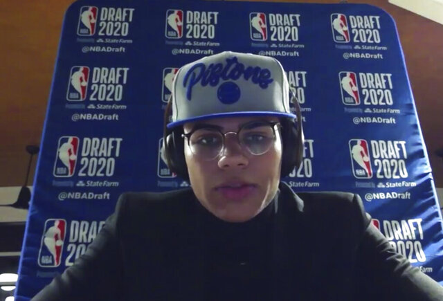 Killian Hayes talks to reporters after being chosen by the Detroit Pistons during the NBA basketball draft, Wednesday, Nov. 18, 2020. (Courtesy NBA via AP)