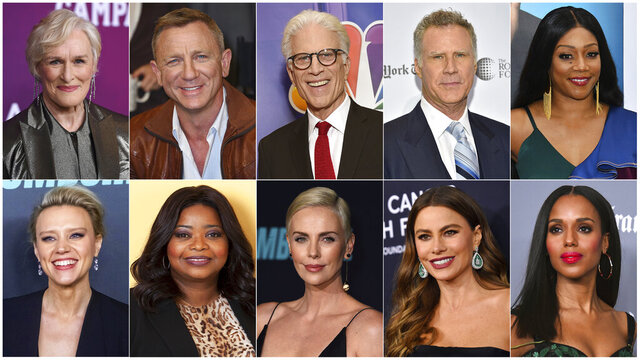 This combination photo shows, top row from left, Glenn Close, Daniel Craig, Ted Danson, Will Ferrell, Tiffany Haddish, bottom row from left, Kate McKinnon, Octavia Spencer, Charlize Theron, Sofia Vergara and Kerry Washington, who will serve as presenters at the Golden Globe Awards on Sunday. (AP Photo)