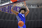 FILE - In this Feb. 18, 2020, file photo, Kentucky forward Nick Richards dunks during an NCAA college basketball game against LSU in Baton Rouge, La.  Richards was selected to the Associated Press All-SEC first team announced Tuesday, March 10, 2020.  (AP Photo/Bill Feig)